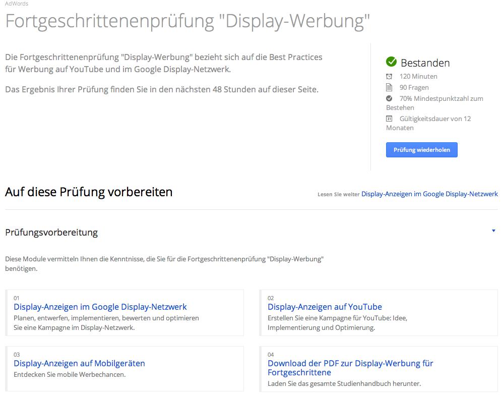 Adwords Zertifizierung Fortgeschrittenenprüfung Display Werbung